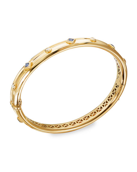 David Yurman Modern Renaissance 18k Diamond & Blue Sapphire Bracelet, Size S