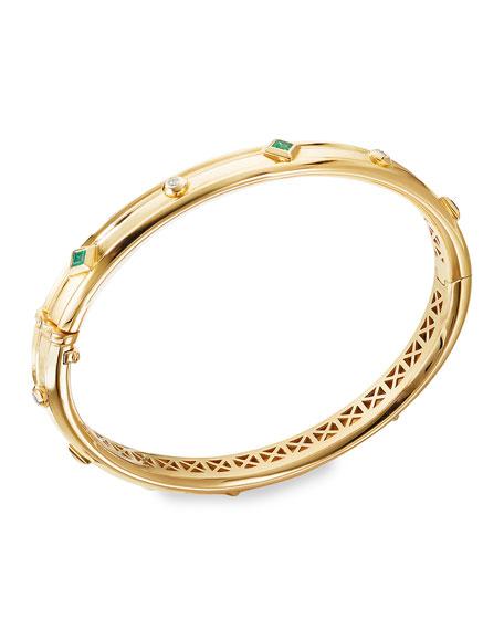 David Yurman Modern Renaissance 18k Diamond & Emerald Bracelet, Size L