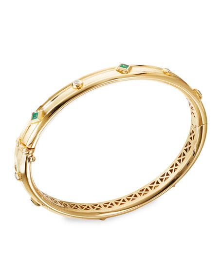 David Yurman Modern Renaissance 18k Diamond & Emerald Bracelet, Size S