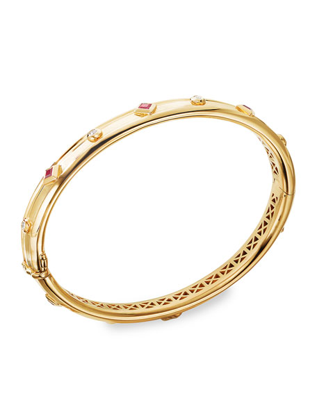 David Yurman Modern Renaissance 18k Diamond & Ruby Bracelet, Size M