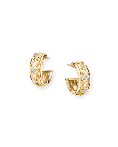 18k Modern Renaissance Hoop Earrings w/ Diamonds