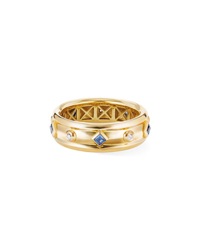 18k Modern Renaissance Ring w/ Blue Sapphires & Diamonds, Size 8
