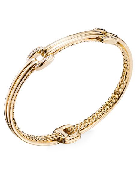 David Yurman Thoroughbred 18k Double-Link Diamond Bracelet, Size M