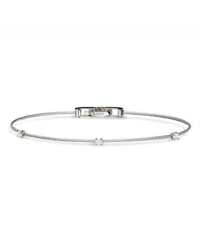 SELIBENA JEWELLERY 18k White Gold Diamond Chain Bracelet