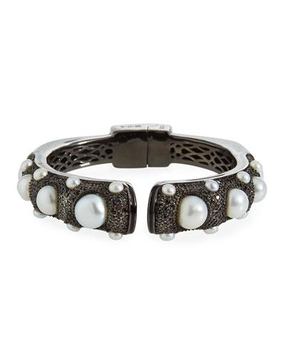 Black Spinel Freshwater Pearl Hinge Bracelet
