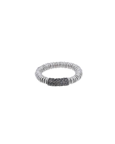 Roberto Demeglio JOY 18k White Gold Black Diamond Stretch Ring, Size 6.5