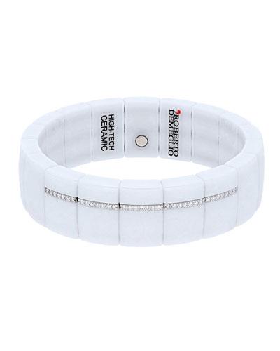DOMINO 18k White Gold White Ceramic Diamond Pave Stretch Bracelet