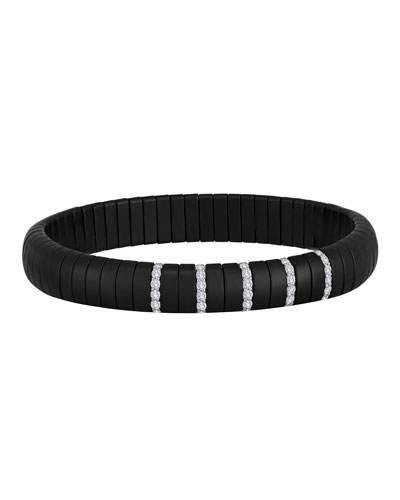 PURA 18k White Gold Black Ceramic Diamond Pave Stretch Bracelet