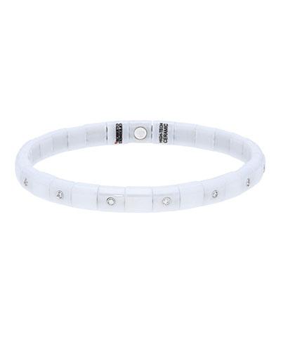 PURA 18k White Gold White Ceramic Diamond Stretch Bracelet
