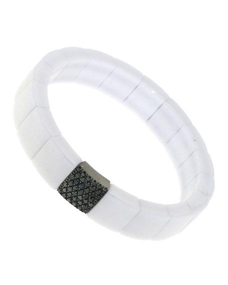 Roberto Demeglio DOMINO 18k White Gold White Ceramic Black Diamond Stretch Bracelet