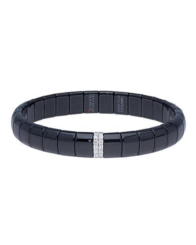 PURA 18k White Gold Black Ceramic Diamond Stretch Bracelet