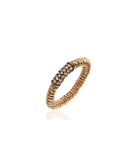 Roberto Demeglio JOY 18k Rose Gold Champagne Diamond Stretch Ring, Size 6.5