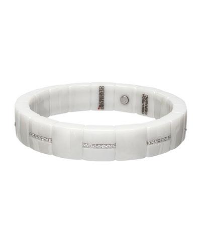 DOMINO 18k White Gold White Ceramic Diamond Stretch Bracelet