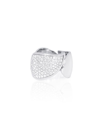 18K White Gold Brilliant Pave Diamond Ring