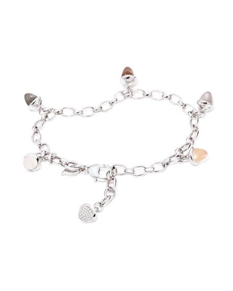 Tamara Comolli Mikado 18k White Gold Moonstone Charm Bracelet w/ Diamond Pave