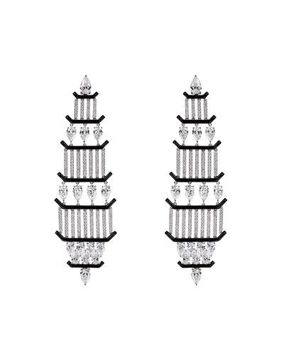 18k White Gold Oui Mixed-Cut Diamond Earrings