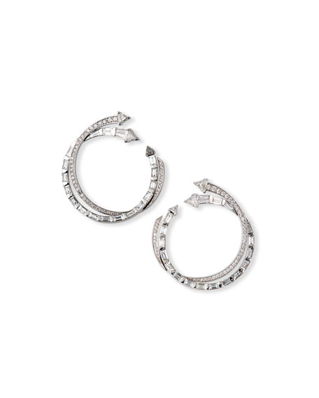 Nikos Koulis Energy 18k White Gold Diamond Hoop Earrings