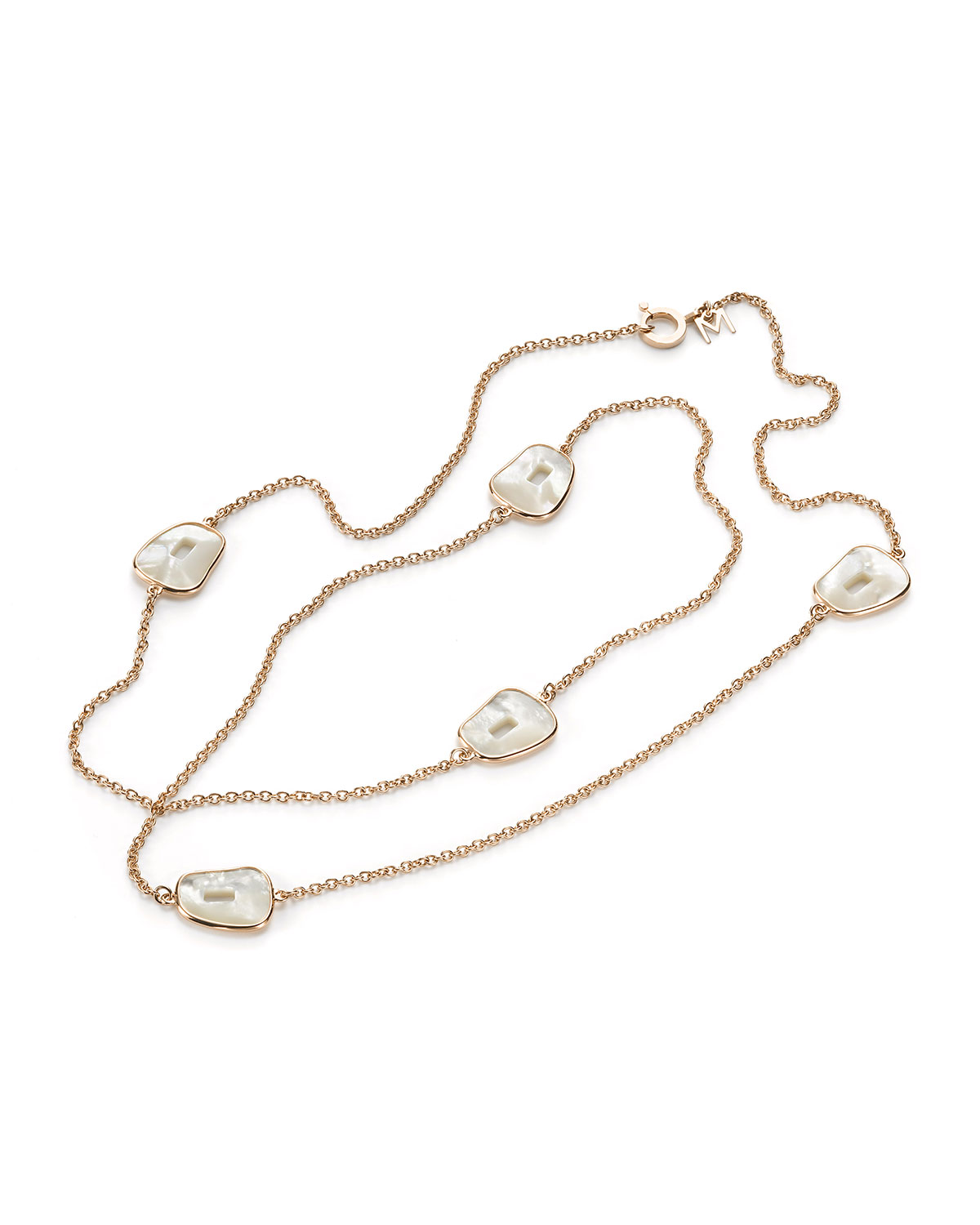 Puzzle 18k Rose Gold Long 5-Mother-of-Pearl Necklace