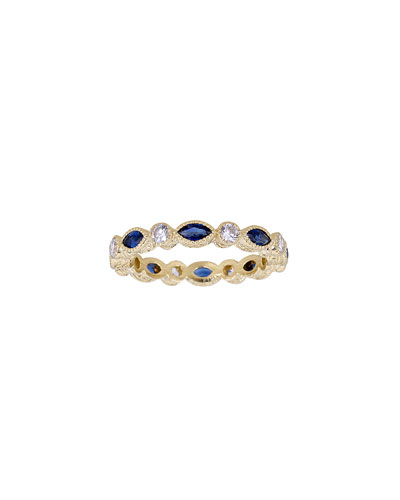 18K Blue Sapphire Marquise & White Diamond Stack Ring, Size 5.75