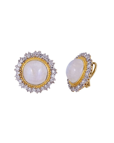 18K Modern Etruscan Moonstone Diamond Sunburst Earrings