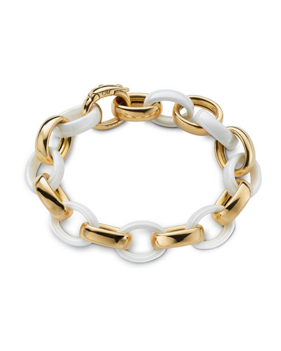 18k Gold White Ceramic Chain Bracelet