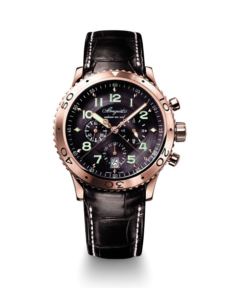 Breguet 42mm Type XX1 18k Rose Gold Automatic Chronograph Watch w/ Alligator Strap, Brown/Rose