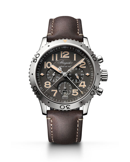 Breguet 42mm Type XX1 Chronograph Watch w/ Leather Strap, Brown