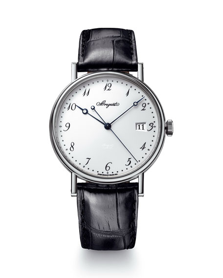 Breguet 38mm Classique 18k White Gold Date Watch w/ Alligator Strap