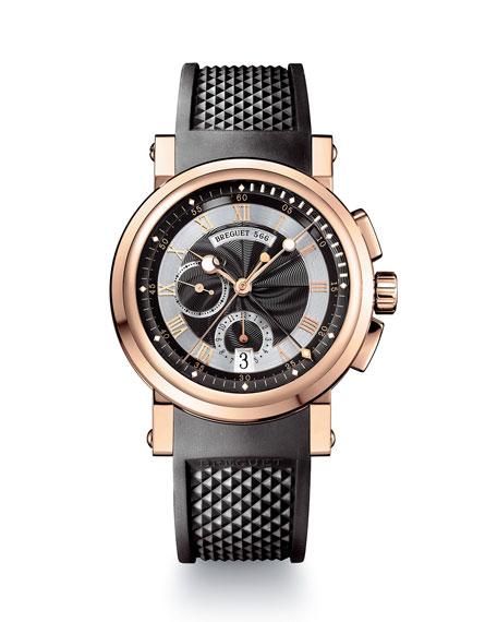 Breguet 42mm Marine Chronograph Watch w/ Rubber Strap, Black/Rose