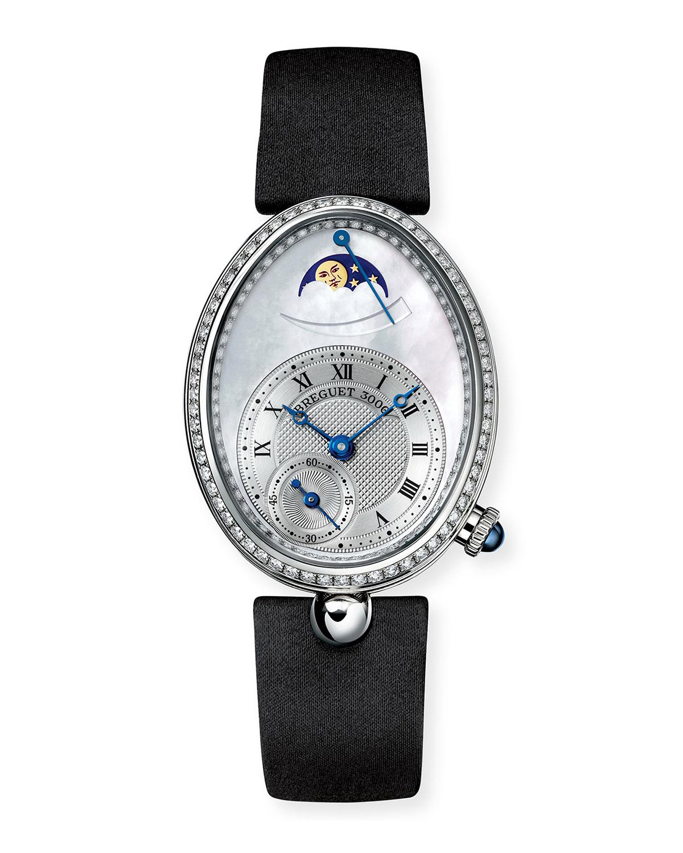 18k White Gold Moon Phase Diamond Watch w/ Leather Strap