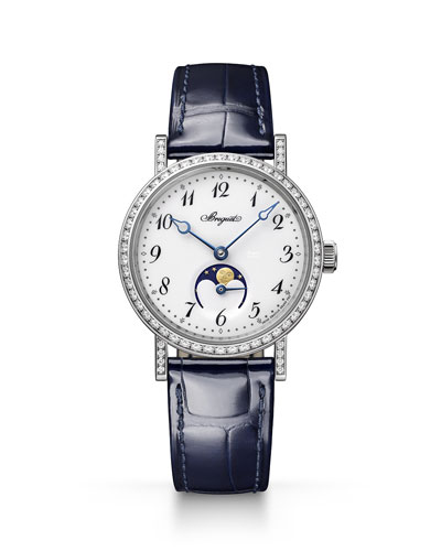 30mm Classique Moon-Phase Diamond Watch w/ Leather Strap, White/Black