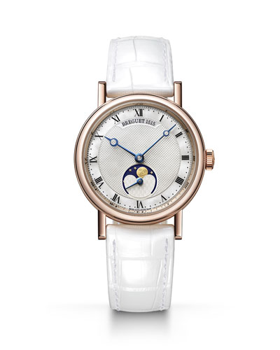 30mm Classique Moon-Phase Watch w/ Leather Strap, White/Rose