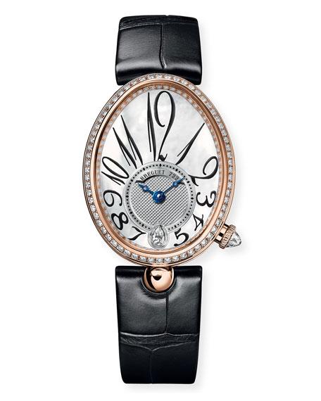 Breguet 18k Rose Gold Diamond-Bezel Watch w/ Alligator Strap