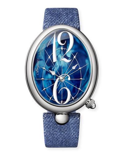 Reine de Naples Oval Watch w/ Blue Jean Strap
