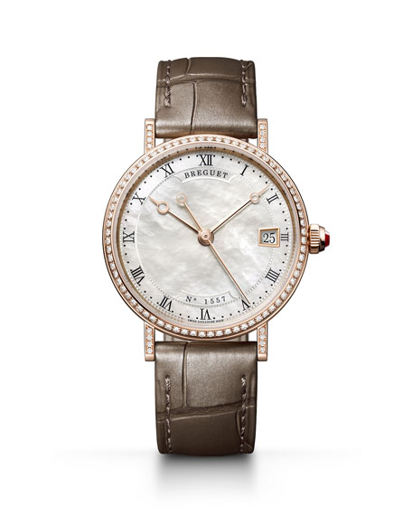 Breguet Classique 33.5mm 18k Rose Gold Diamond Watch w/ Alligator Strap