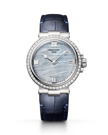 Breguet La Marine 33.8mm 18k White Gold Mother-of-Pearl Watch w/ Diamonds