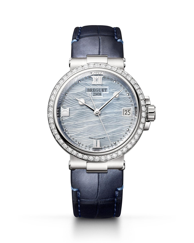 La Marine 33.8mm 18k White Gold Mother-of-Pearl Watch w/ Diamonds