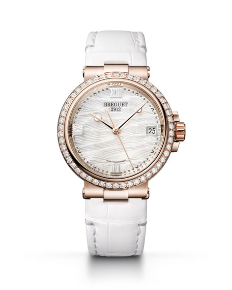 Breguet La Marine 33.8mm 18k Rose Gold Mother-of-Pearl Watch w/ Diamonds