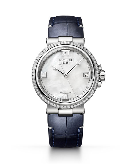 Breguet La Marine 33.8mm Diamond Mother-of-Pearl Watch w/ Alligator Strap