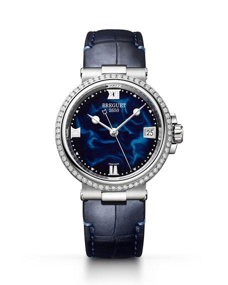 Breguet La Marine 33.8mm Diamond Blue Lacquer Watch w/ Alligator Strap