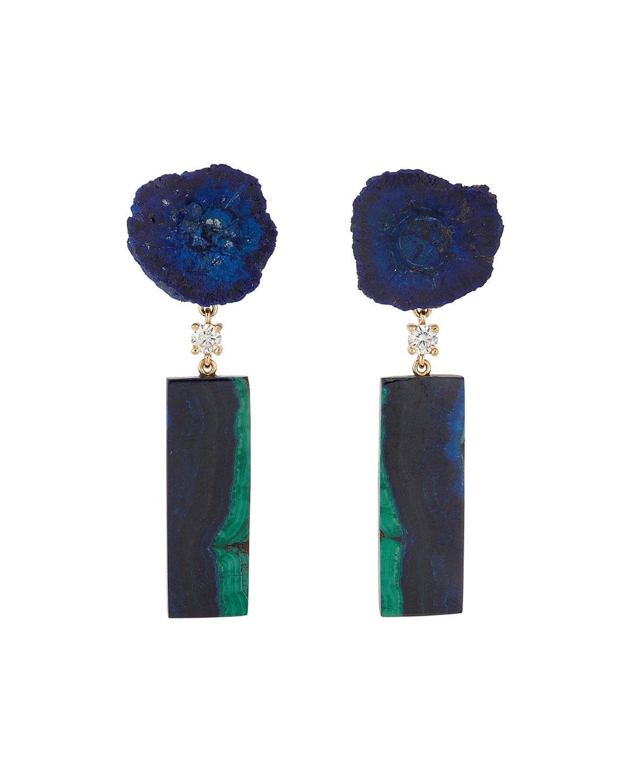 18k Bespoke 2-Tier One-of-a-Kind Luxury Earrings w/ Azurite Geode