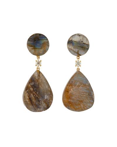 18K Bespoke 2-Tier Tribal Luxury Earrings w/ Labradorite & Diamonds
