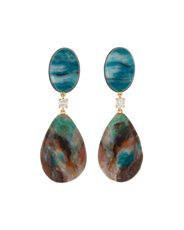 18K Bespoke 2-Tier One-of-a-Kind Luxury Earrings w/ Chrysocolla Malachite