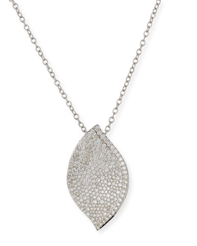 18K White Gold Diamond Pave Lotus Leaf Necklace