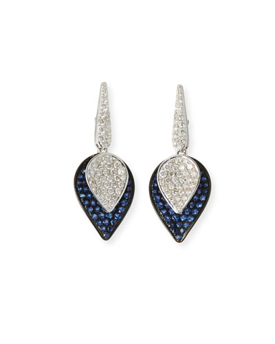 18K White Gold Lotus Small Leaf Drop Earrings w/ Sapphires & Diamonds