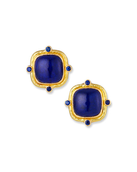 Elizabeth Locke 19k Lapis Button Earrings