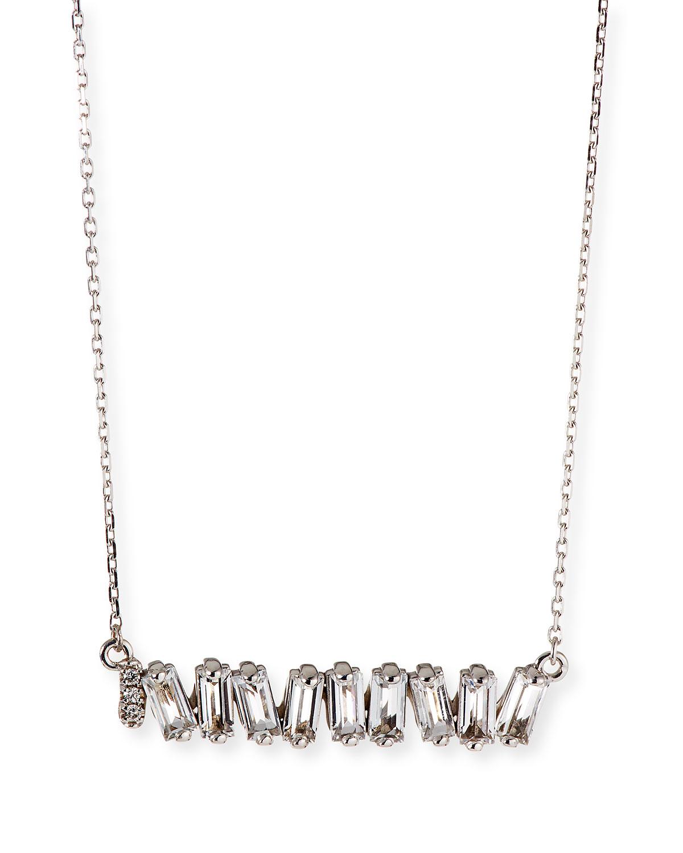 White Topaz Fireworks Bar Necklace with Diamond Detail