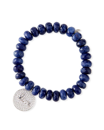 14k Diamond Love Script Sodalite Bracelet