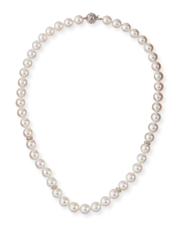 18k White Gold Akoya Pearl-Strand Necklace w/ Diamonds