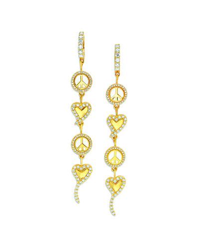 20k Diamond White Enamel Peace & Love Earrings
